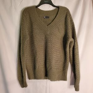 Carole Little cable weave sweater army green